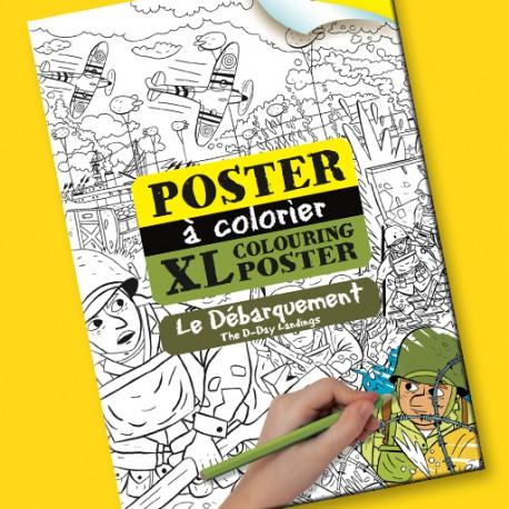 Poster à colorier Le Débarquement pour enfants