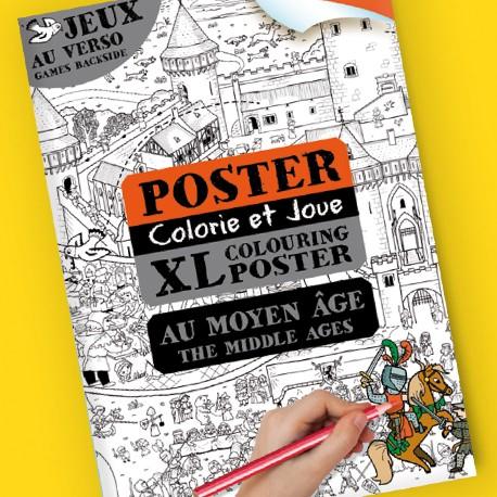 Poster Colorie et joue Au Moyen Âge pour enfants