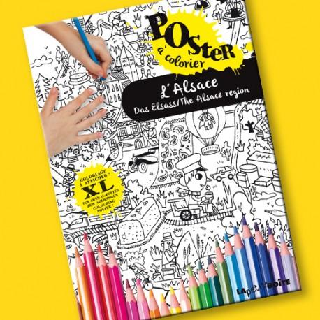 Poster à colorier L'Alsace pour enfants